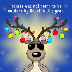 XMAS29  Prancer Wont Be Outdone Funny Christmas Card